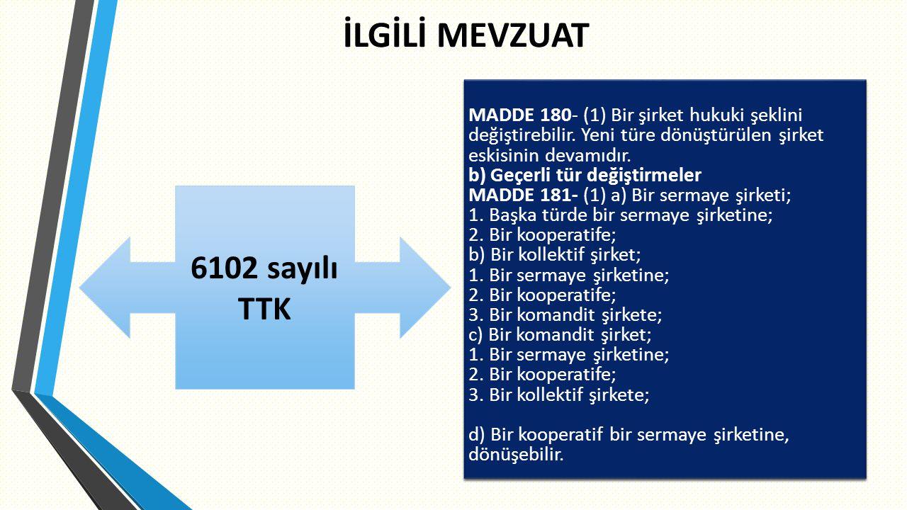 İLGİLİ MEVZUAT 6102 sayılı TTK