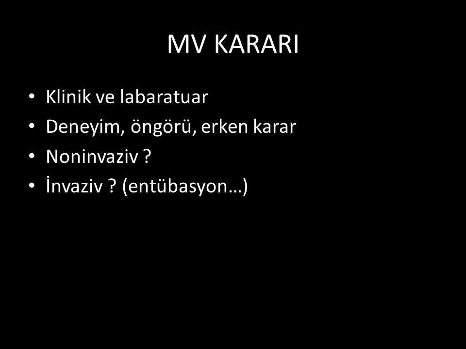 MV KARARI Klinik ve labaratuar Deneyim, öngörü, erken karar