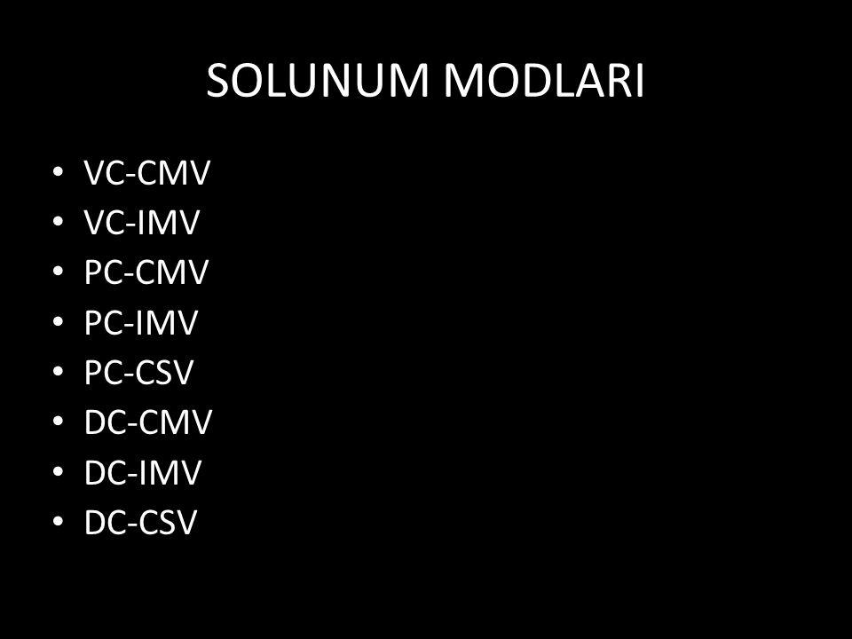 SOLUNUM MODLARI VC-CMV VC-IMV PC-CMV PC-IMV PC-CSV DC-CMV DC-IMV