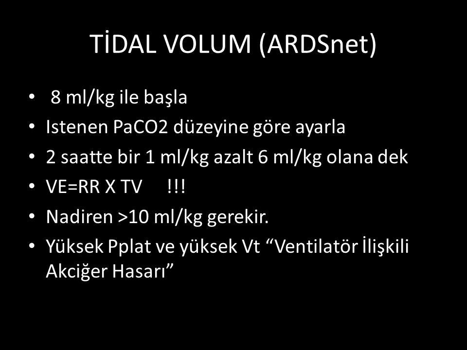 TİDAL VOLUM (ARDSnet) 8 ml/kg ile başla
