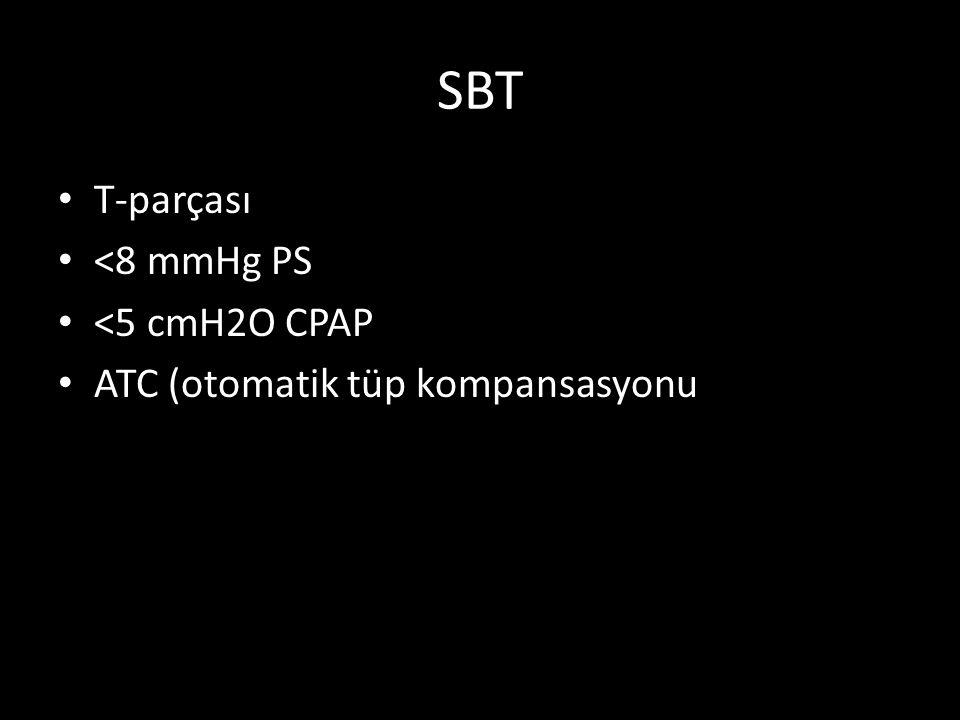 SBT T-parçası <8 mmHg PS <5 cmH2O CPAP