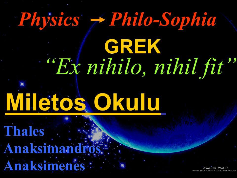 Ex nihilo, nihil fit Miletos Okulu Physics Philo-Sophia GREK Thales