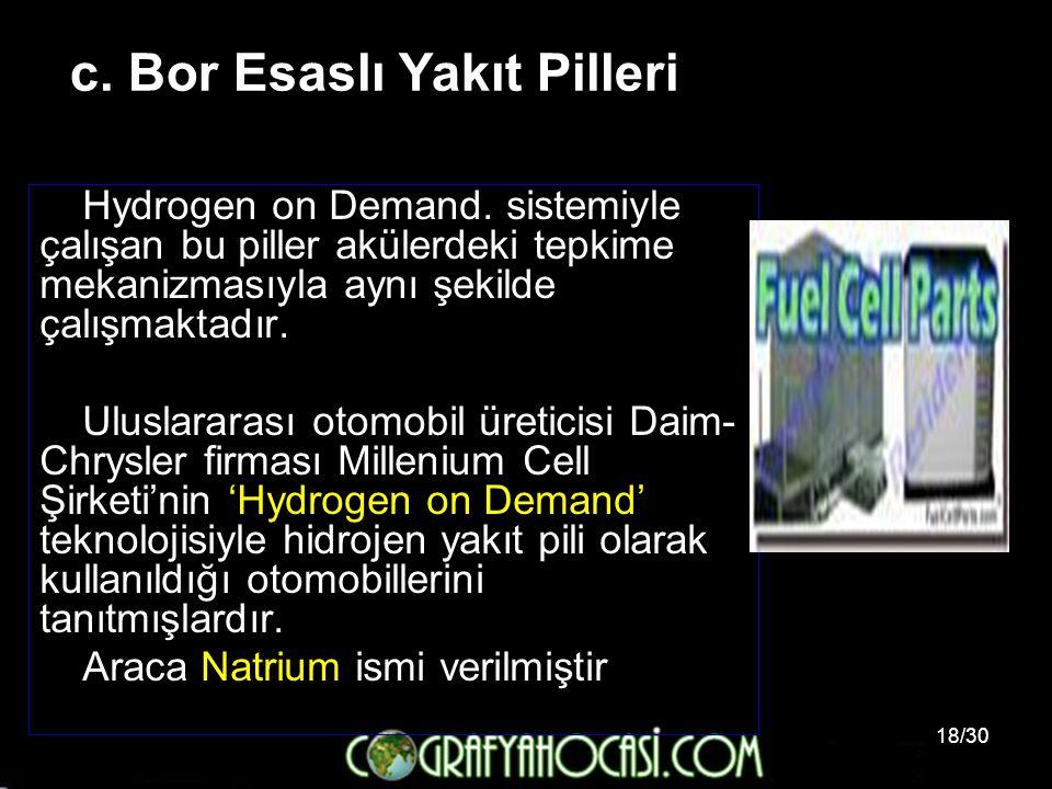 c. Bor Esaslı Yakıt Pilleri