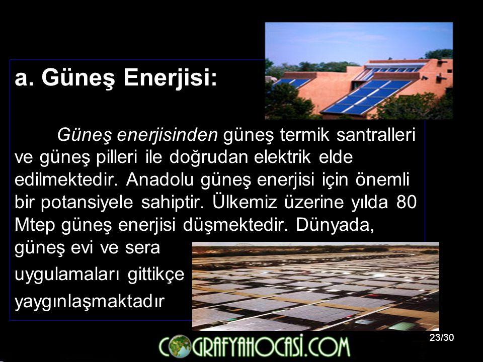 a. Güneş Enerjisi: