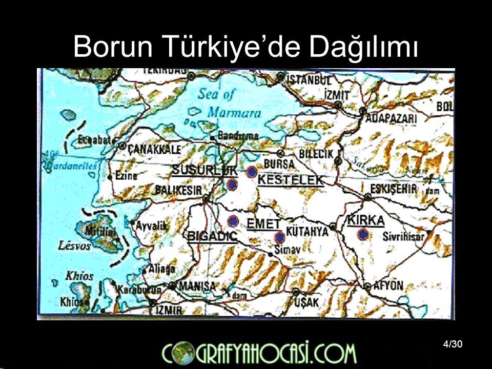 Borun Türkiye'de Dağılımı