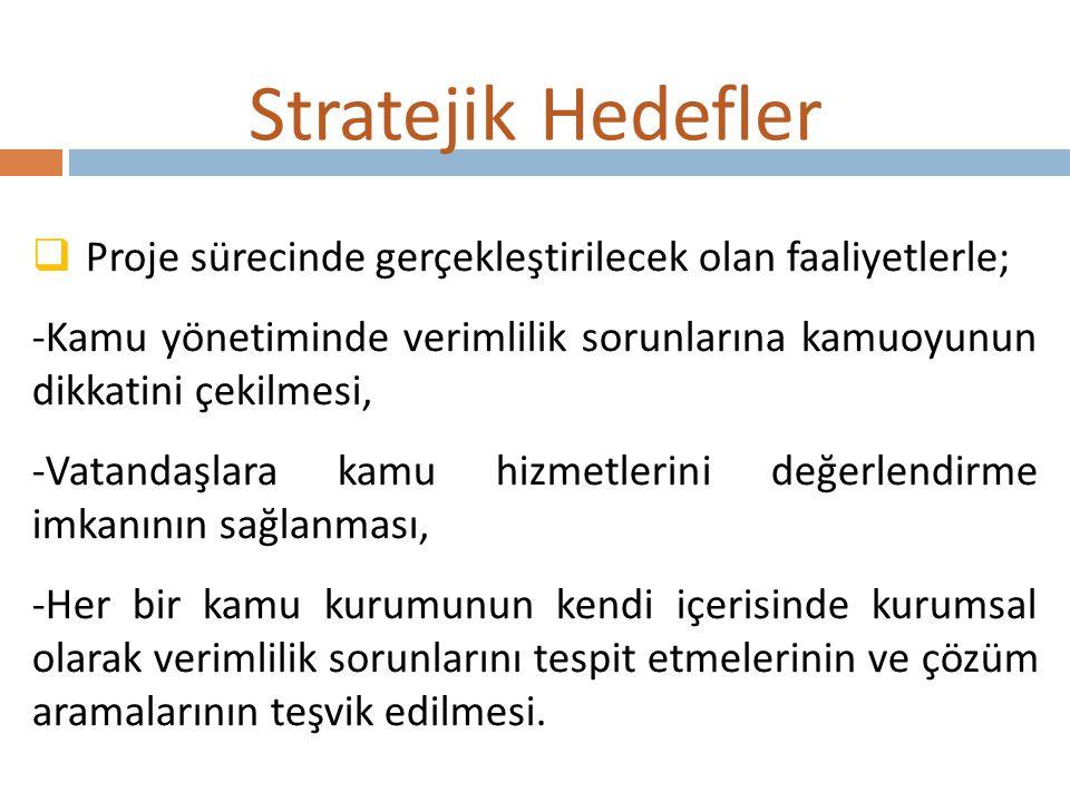 Stratejik Hedefler Proje sürecinde gerçekleştirilecek olan faaliyetlerle; -Kamu yönetiminde verimlilik sorunlarına kamuoyunun dikkatini çekilmesi,