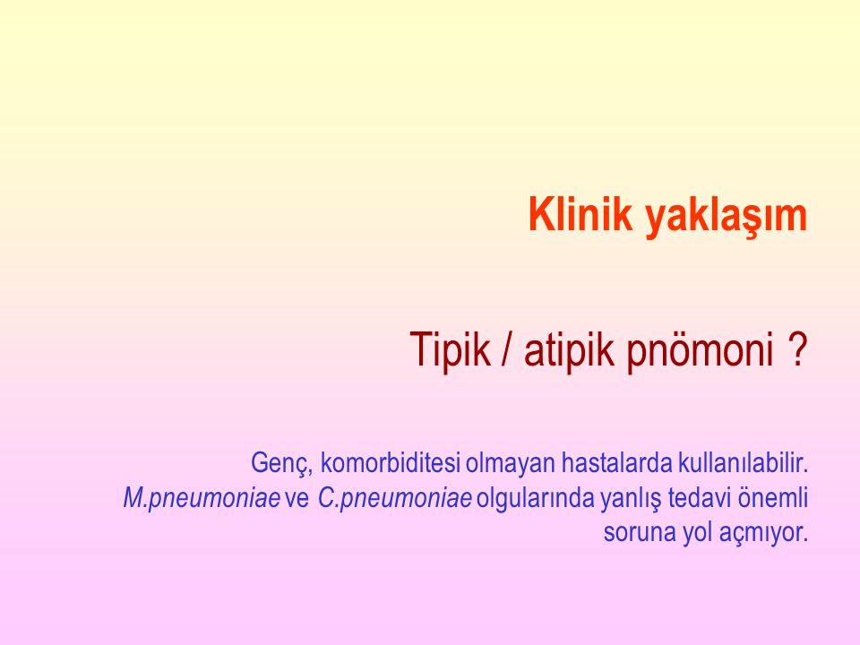 Klinik yaklaşım Tipik / atipik pnömoni
