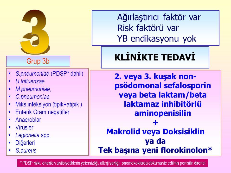 Makrolid veya Doksisiklin Tek başına yeni florokinolon*