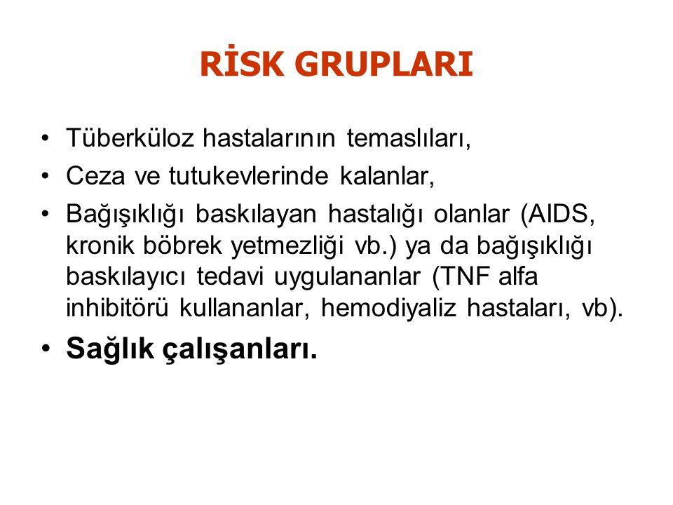 RİSK GRUPLARI Sağlık çalışanları. Tüberküloz hastalarının temaslıları,