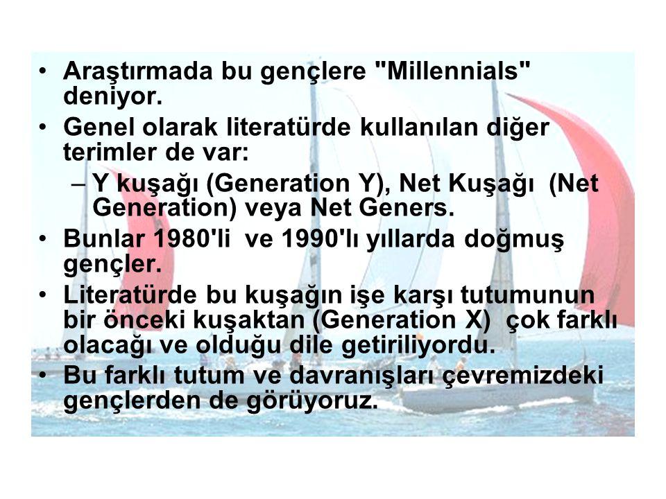 Araştırmada bu gençlere Millennials deniyor.