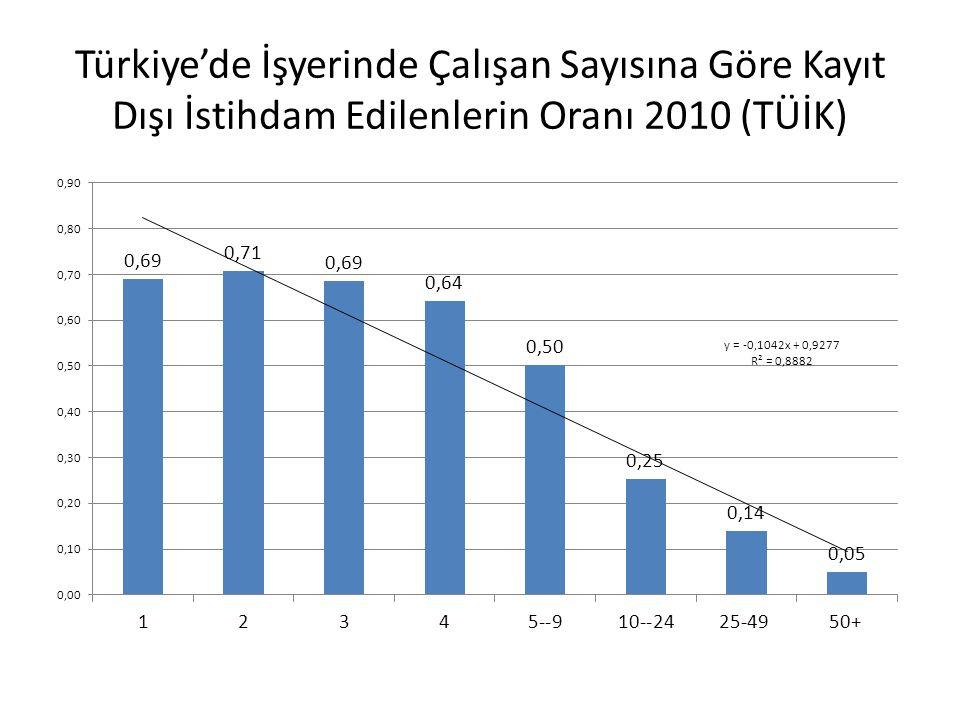 Türkiye'de İşyerinde Çalışan Sayısına Göre Kayıt Dışı İstihdam Edilenlerin Oranı 2010 (TÜİK)