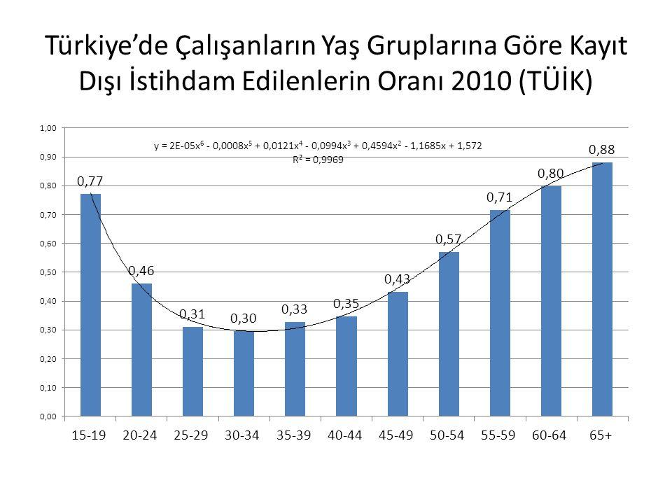 Türkiye'de Çalışanların Yaş Gruplarına Göre Kayıt Dışı İstihdam Edilenlerin Oranı 2010 (TÜİK)