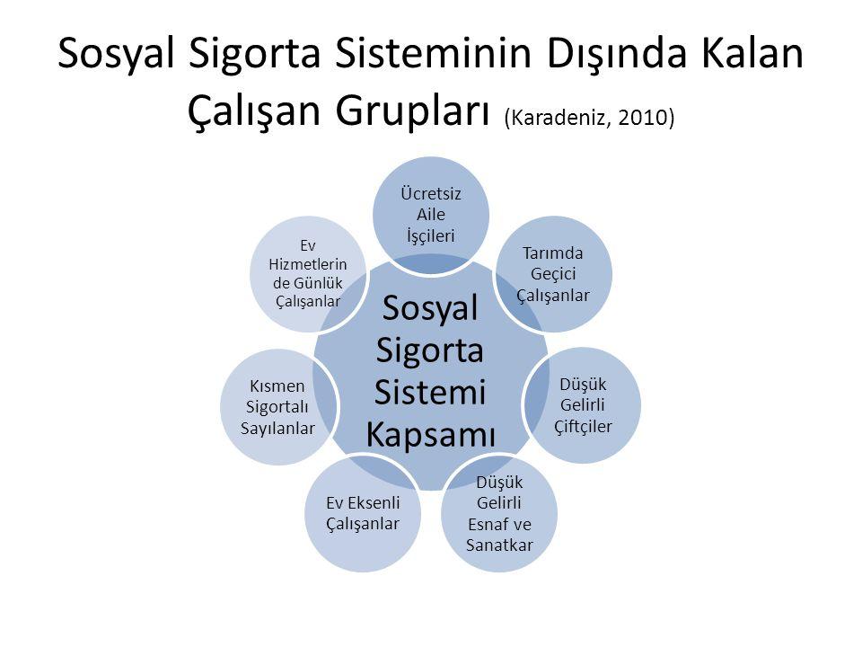 Sosyal Sigorta Sisteminin Dışında Kalan Çalışan Grupları (Karadeniz, 2010)