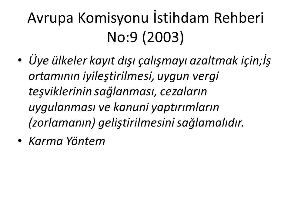 Avrupa Komisyonu İstihdam Rehberi No:9 (2003)