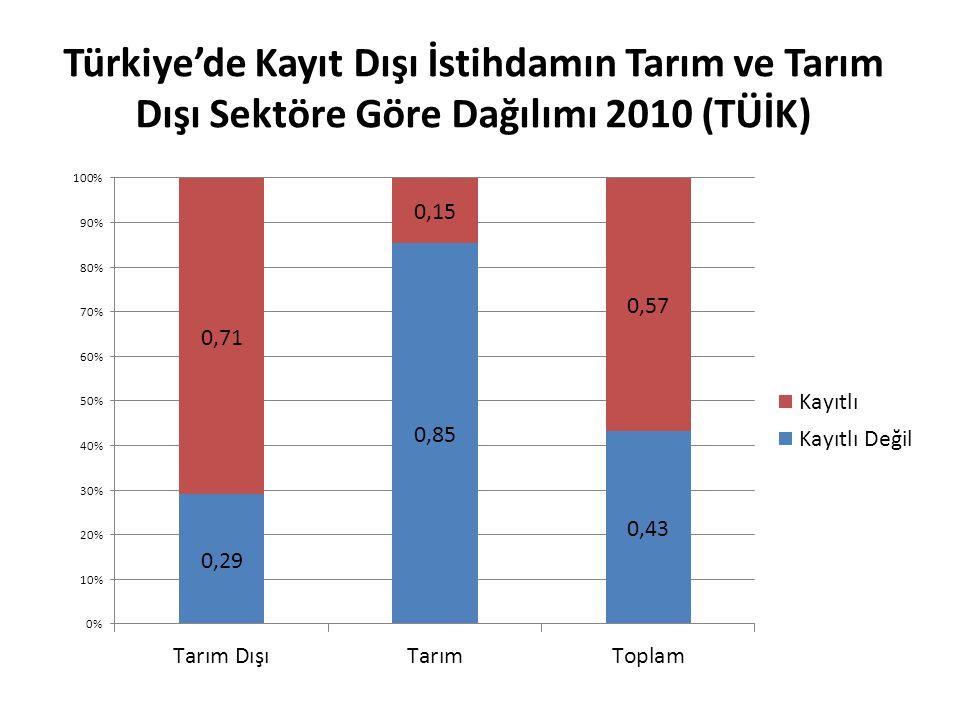 Türkiye'de Kayıt Dışı İstihdamın Tarım ve Tarım Dışı Sektöre Göre Dağılımı 2010 (TÜİK)