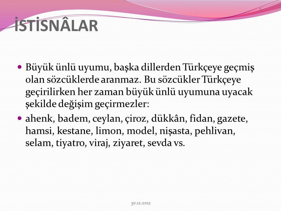 İSTİSNÂLAR