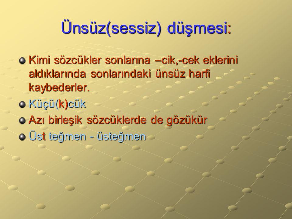 Ünsüz(sessiz) düşmesi: