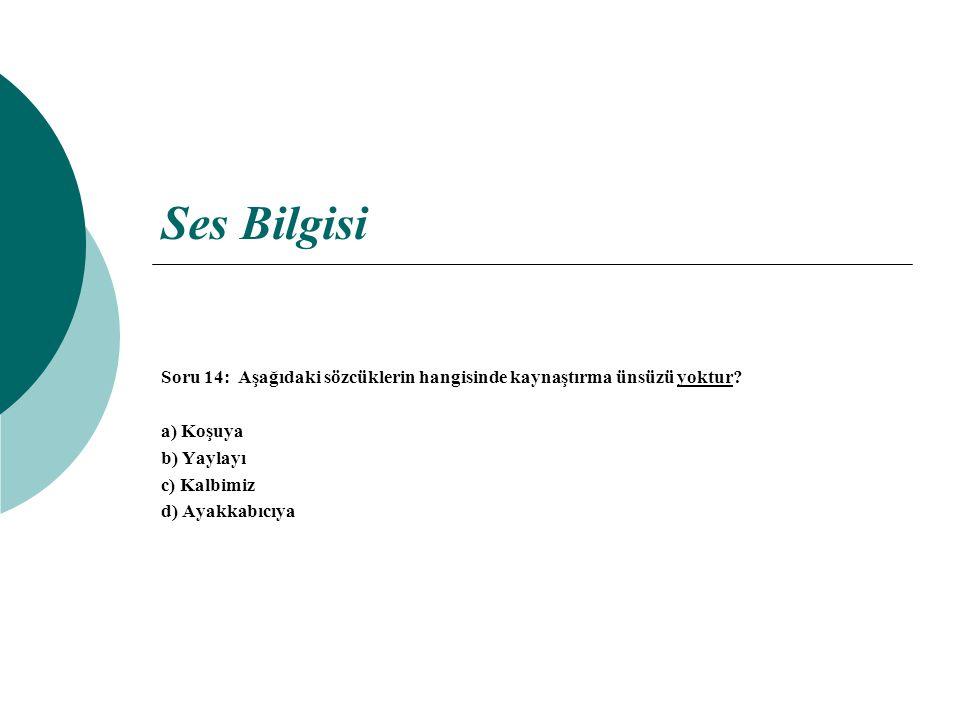 Ses Bilgisi Soru 14: Aşağıdaki sözcüklerin hangisinde kaynaştırma ünsüzü yoktur a) Koşuya. b) Yaylayı.