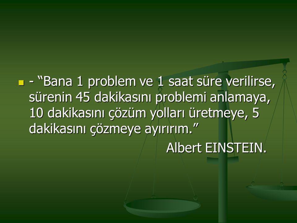 - Bana 1 problem ve 1 saat süre verilirse, sürenin 45 dakikasını problemi anlamaya, 10 dakikasını çözüm yolları üretmeye, 5 dakikasını çözmeye ayırırım.