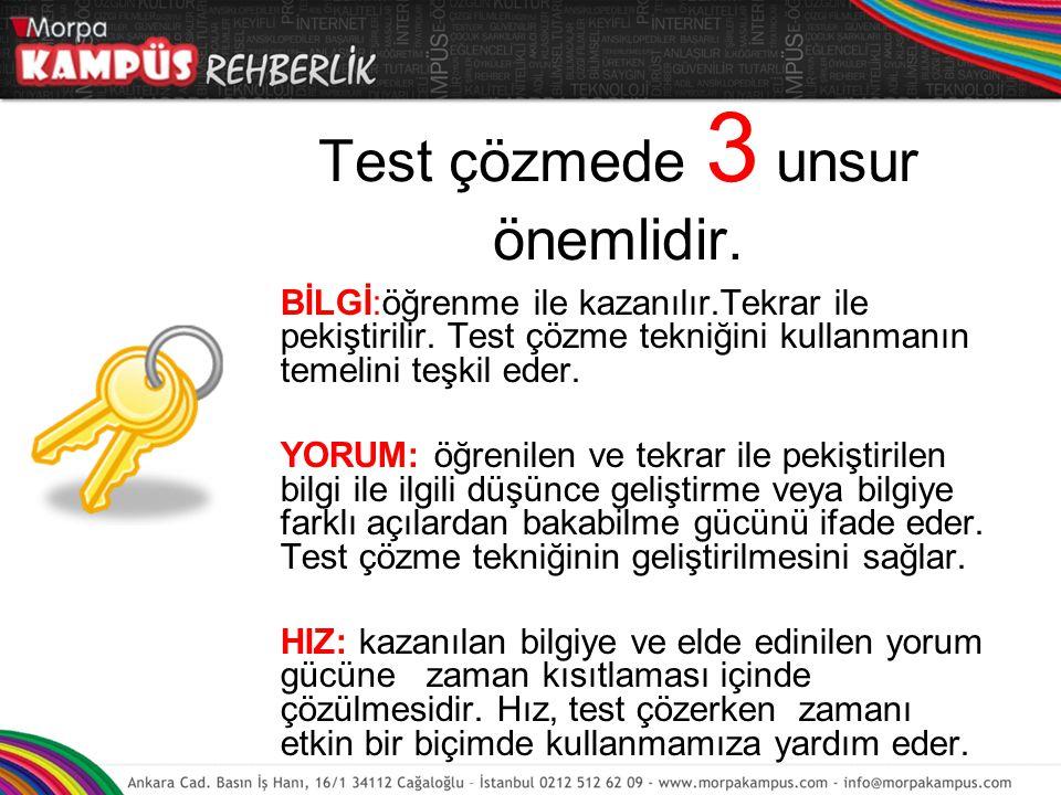 Test çözmede 3 unsur önemlidir.