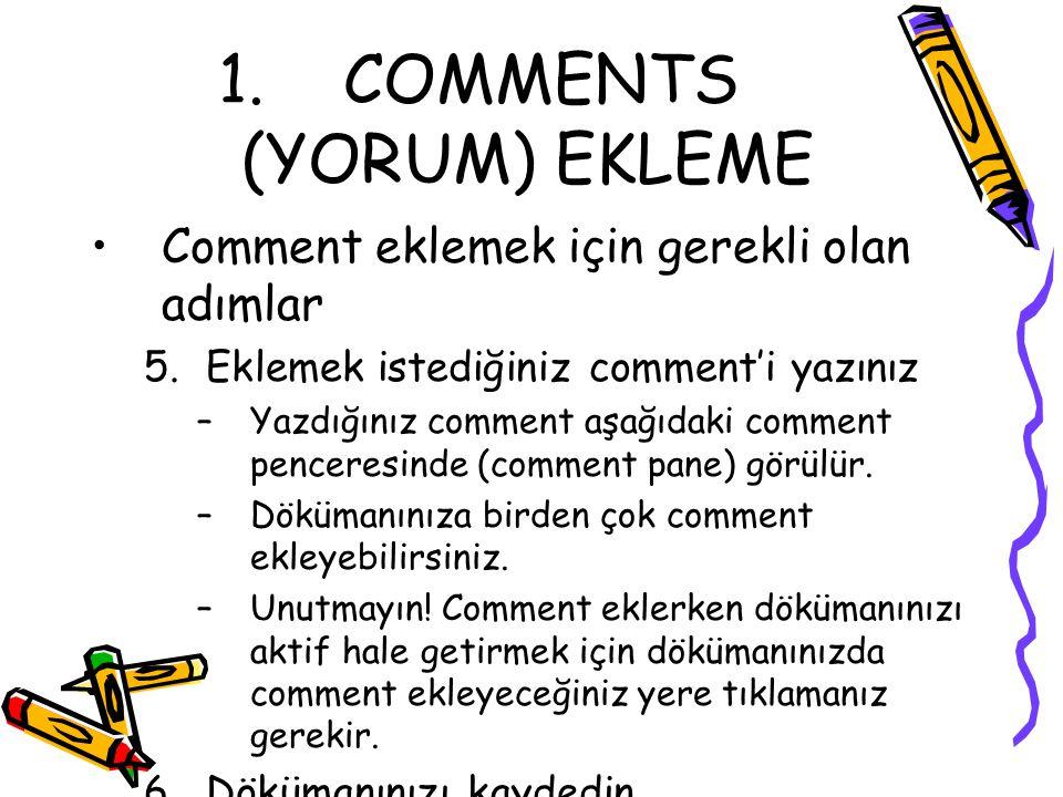 COMMENTS (YORUM) EKLEME
