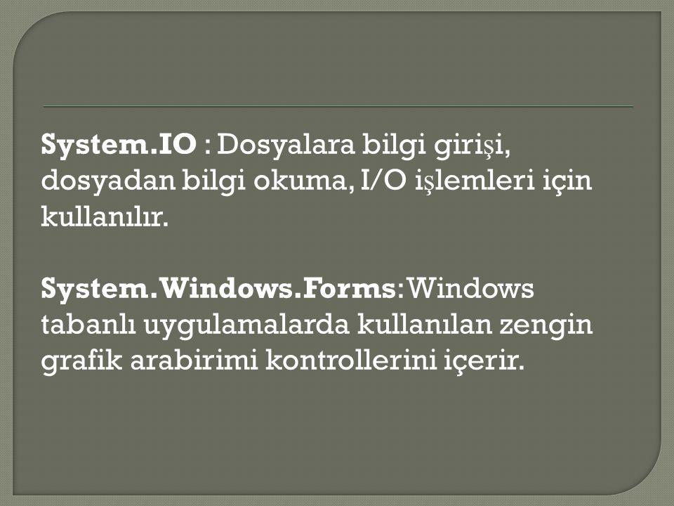 System.IO : Dosyalara bilgi girişi, dosyadan bilgi okuma, I/O işlemleri için kullanılır.