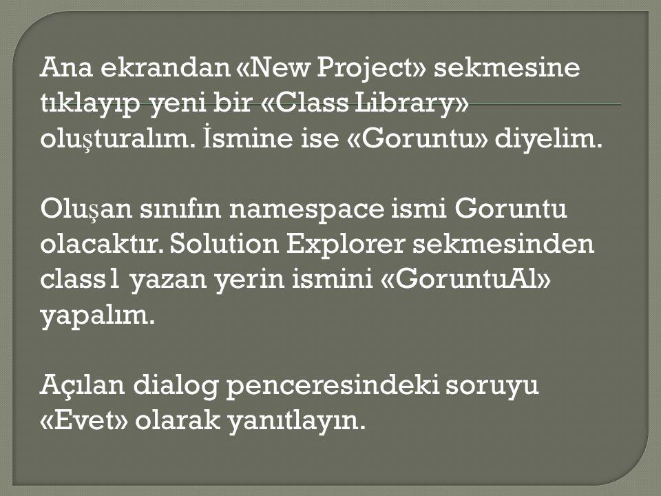 Ana ekrandan «New Project» sekmesine tıklayıp yeni bir «Class Library» oluşturalım.