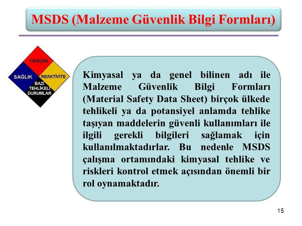 MSDS (Malzeme Güvenlik Bilgi Formları)