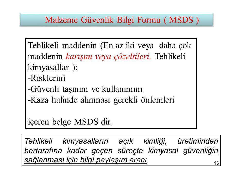 Malzeme Güvenlik Bilgi Formu ( MSDS )