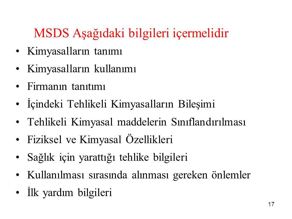 MSDS Aşağıdaki bilgileri içermelidir