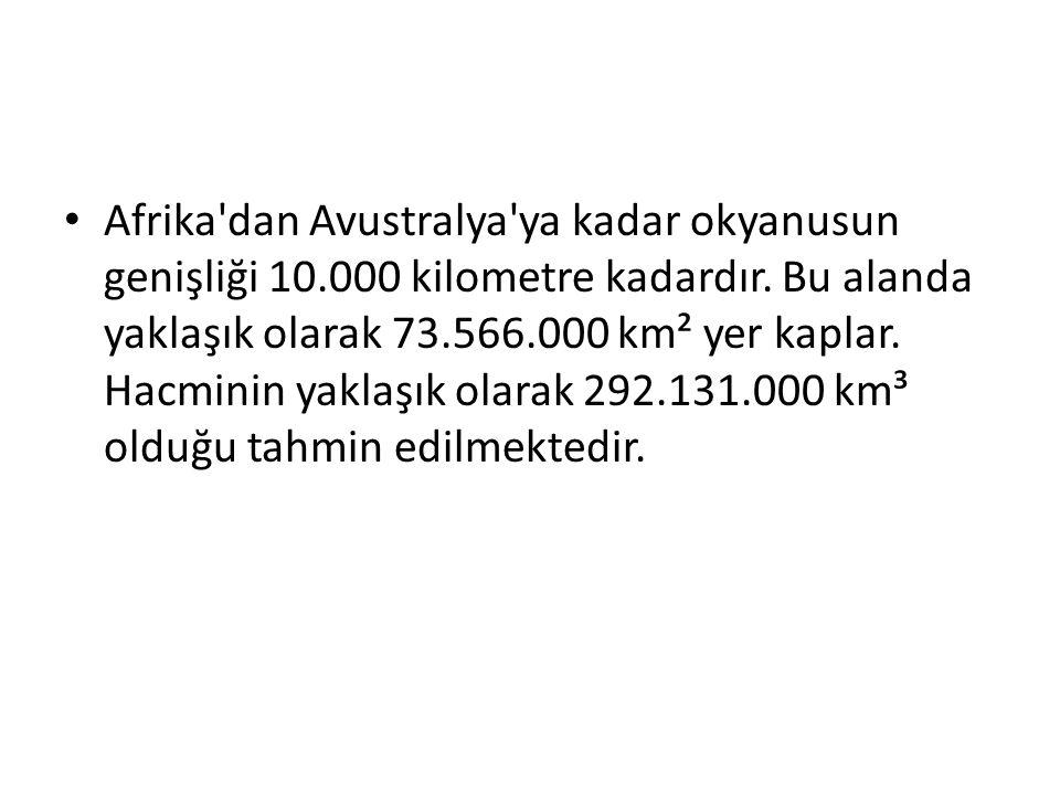 Afrika dan Avustralya ya kadar okyanusun genişliği 10