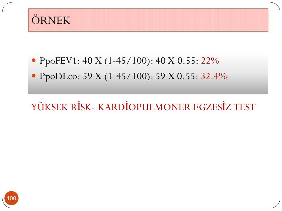 ÖRNEK PpoFEV1: 40 X (1-45/100): 40 X 0.55: 22%