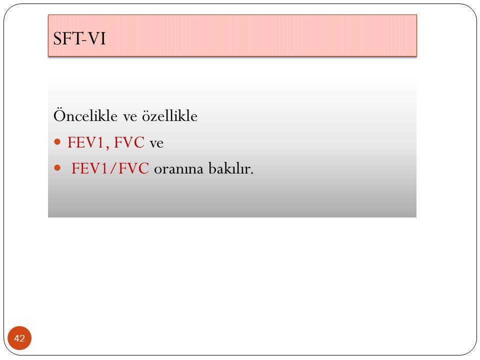 SFT-VI Öncelikle ve özellikle FEV1, FVC ve FEV1/FVC oranına bakılır.