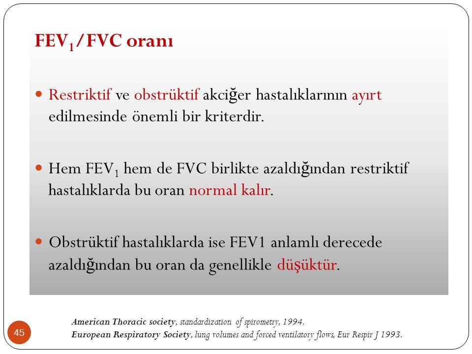 FEV1/FVC oranı Restriktif ve obstrüktif akciğer hastalıklarının ayırt edilmesinde önemli bir kriterdir.