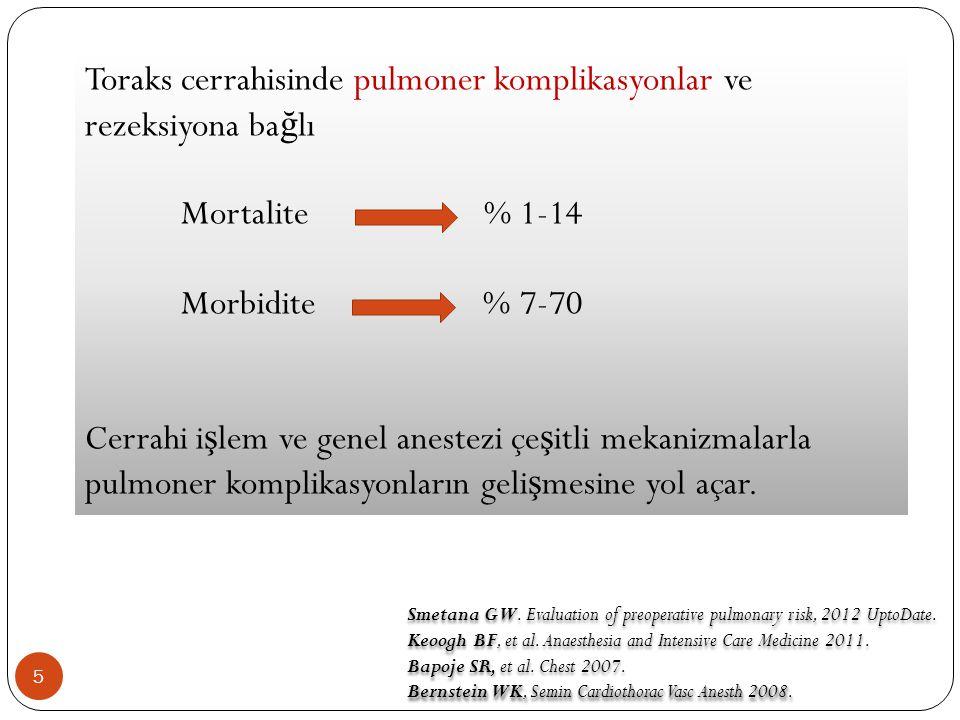 Toraks cerrahisinde pulmoner komplikasyonlar ve rezeksiyona bağlı