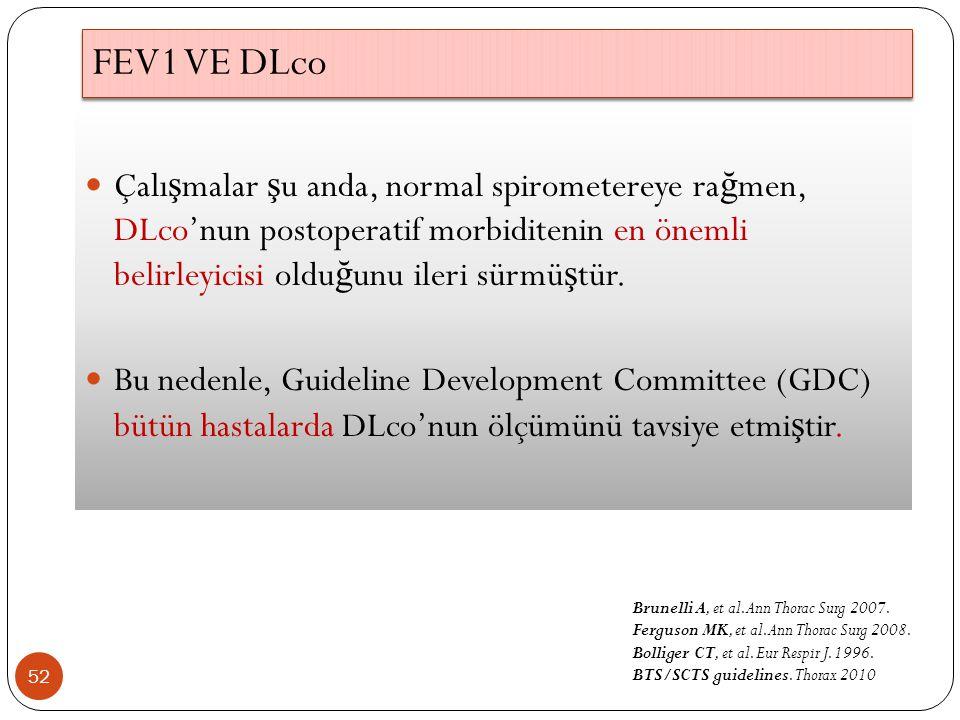 FEV1 VE DLco Çalışmalar şu anda, normal spirometereye rağmen, DLco'nun postoperatif morbiditenin en önemli belirleyicisi olduğunu ileri sürmüştür.