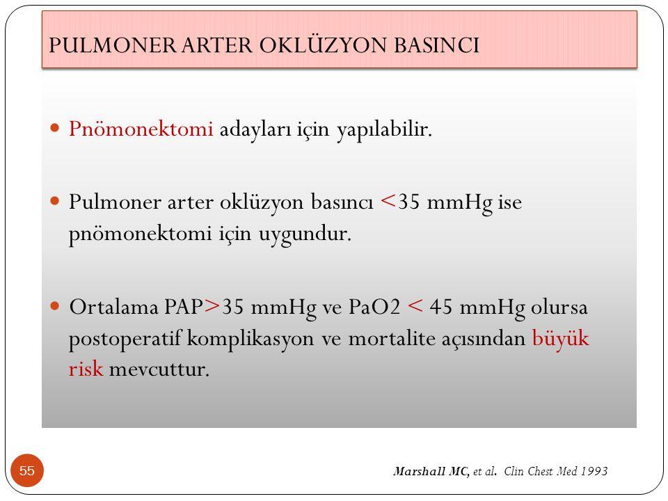 PULMONER ARTER OKLÜZYON BASINCI