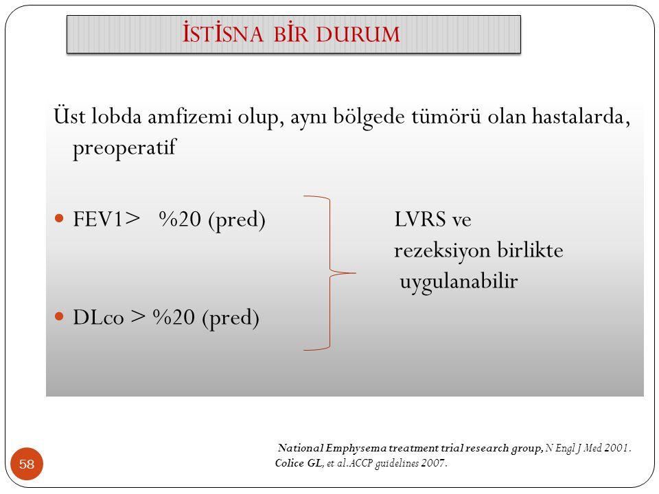 FEV1> %20 (pred) LVRS ve rezeksiyon birlikte uygulanabilir