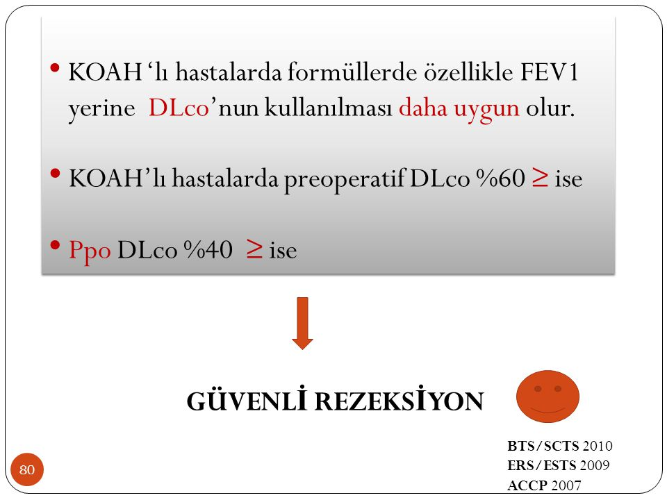KOAH'lı hastalarda preoperatif DLco %60 ≥ ise Ppo DLco %40 ≥ ise