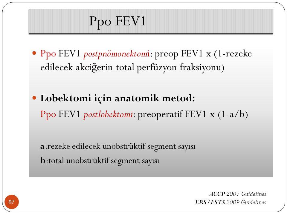Ppo FEV1 Ppo FEV1 postpnömonektomi: preop FEV1 x (1-rezeke edilecek akciğerin total perfüzyon fraksiyonu)