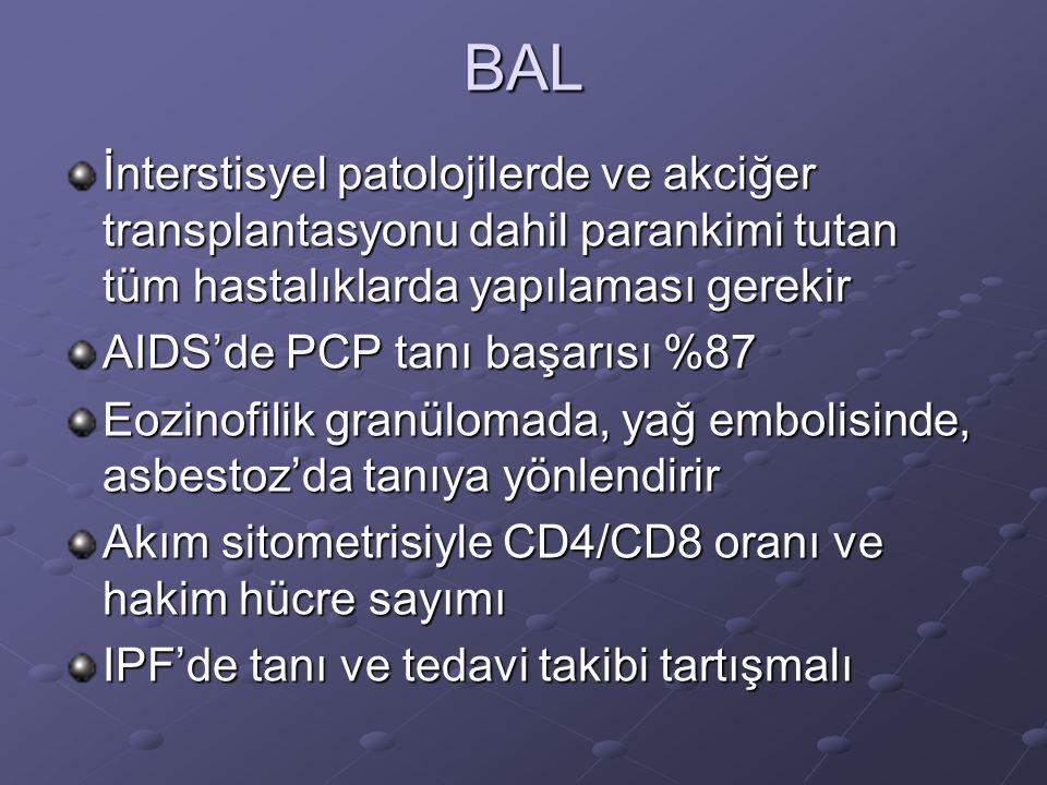 BAL İnterstisyel patolojilerde ve akciğer transplantasyonu dahil parankimi tutan tüm hastalıklarda yapılaması gerekir.