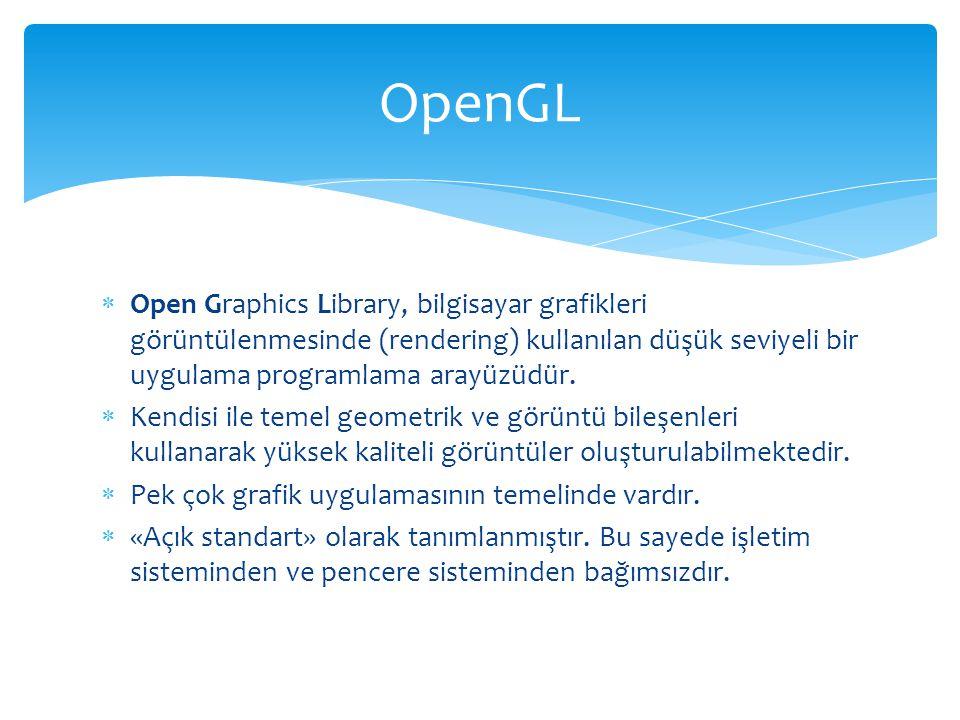OpenGL Open Graphics Library, bilgisayar grafikleri görüntülenmesinde (rendering) kullanılan düşük seviyeli bir uygulama programlama arayüzüdür.