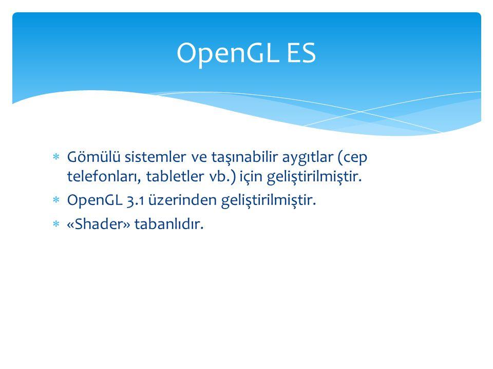 OpenGL ES Gömülü sistemler ve taşınabilir aygıtlar (cep telefonları, tabletler vb.) için geliştirilmiştir.