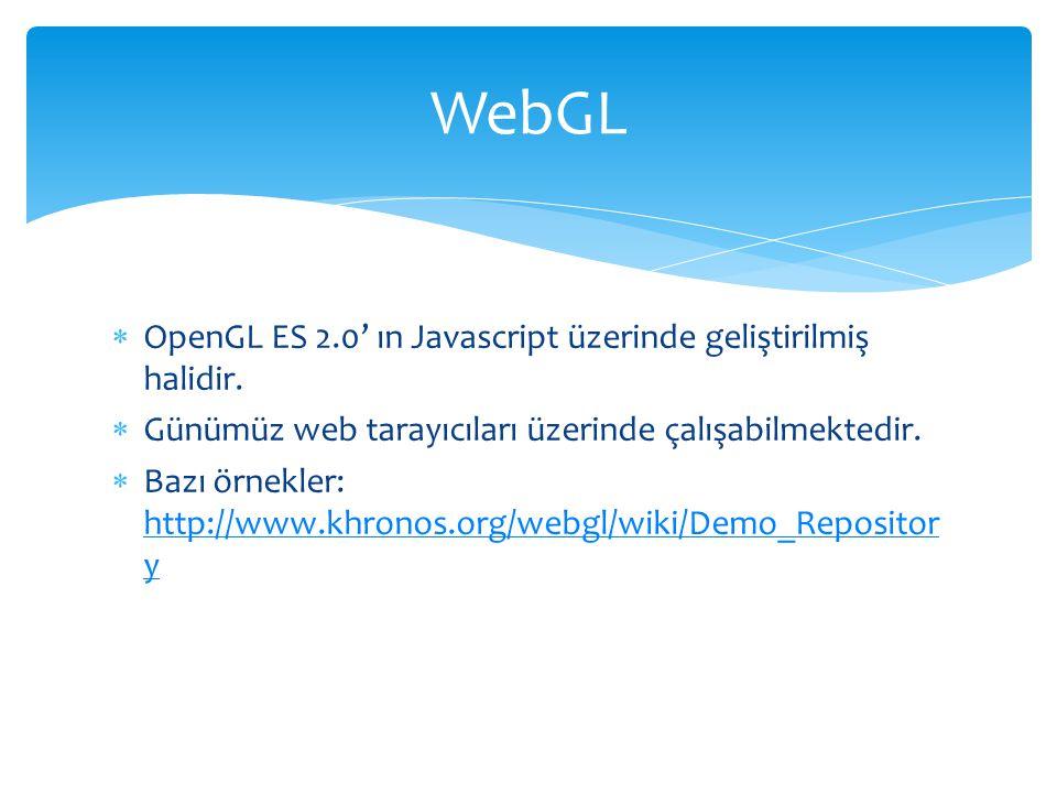 WebGL OpenGL ES 2.0' ın Javascript üzerinde geliştirilmiş halidir.