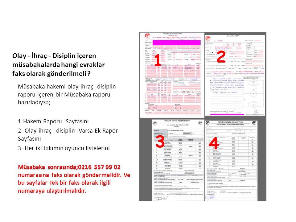 UFGA Olay - İhraç - Disiplin içeren müsabakalarda hangi evraklar faks olarak gönderilmeli