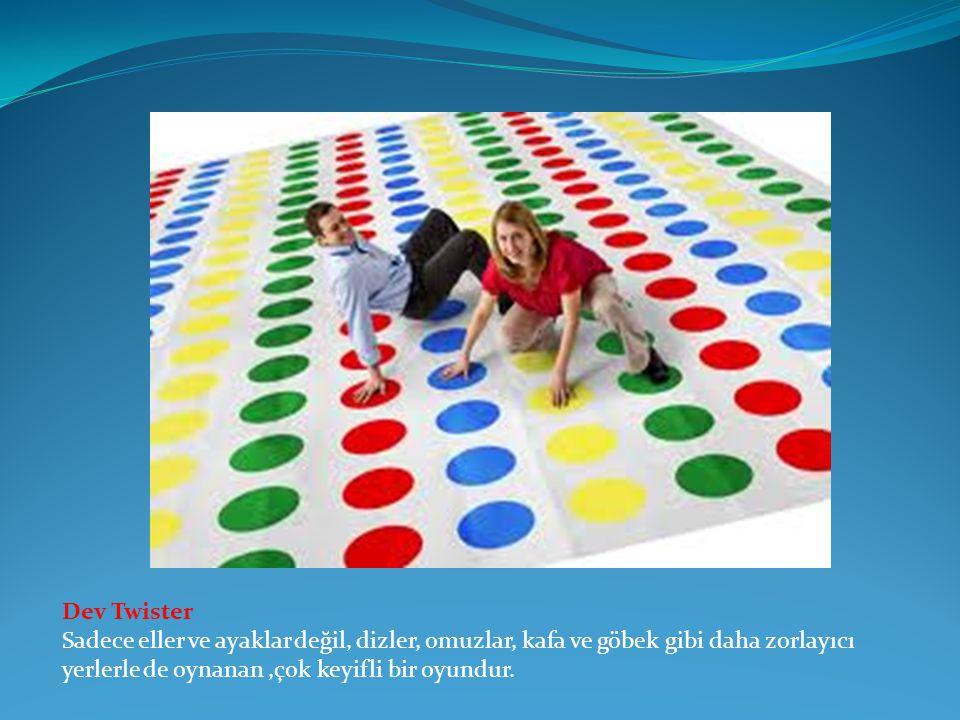 Dev Twister Sadece eller ve ayaklar değil, dizler, omuzlar, kafa ve göbek gibi daha zorlayıcı yerlerle de oynanan ,çok keyifli bir oyundur.