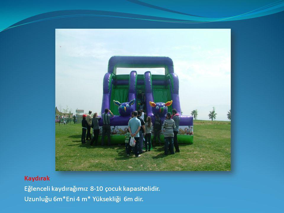 Kaydırak Eğlenceli kaydırağımız 8-10 çocuk kapasitelidir. Uzunluğu 6m*Eni 4 m* Yüksekliği 6m dir.