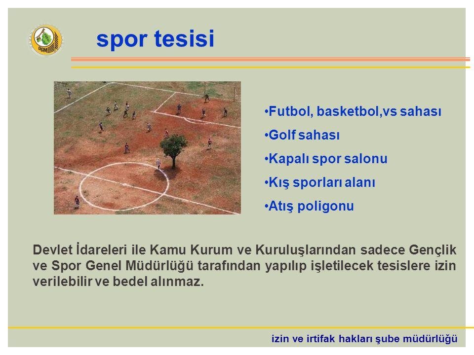 spor tesisi Futbol, basketbol,vs sahası Golf sahası Kapalı spor salonu