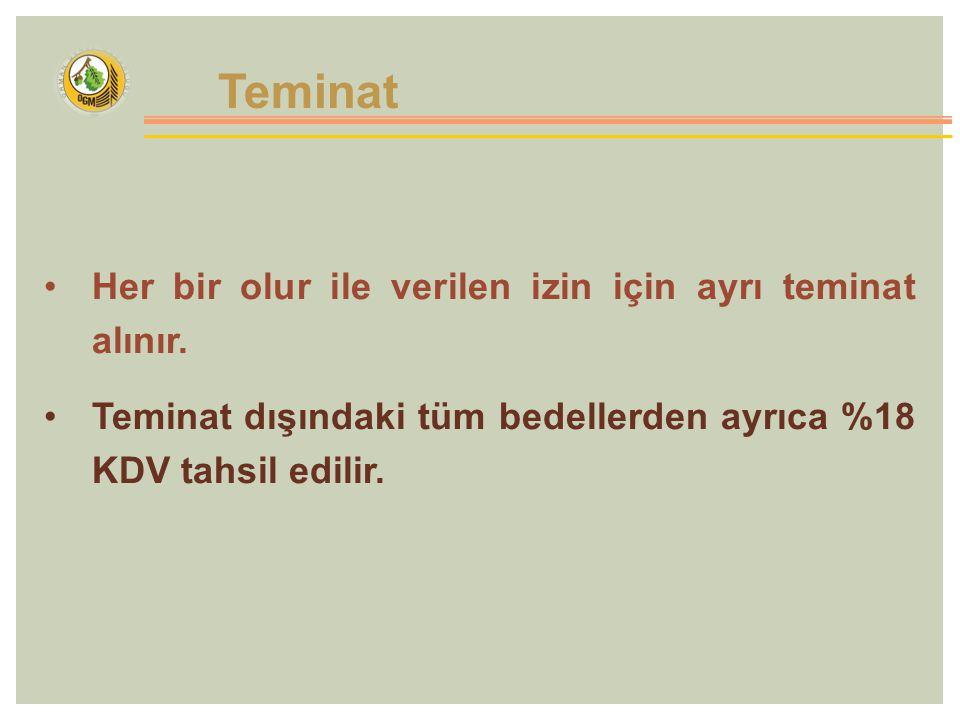 Teminat Her bir olur ile verilen izin için ayrı teminat alınır.