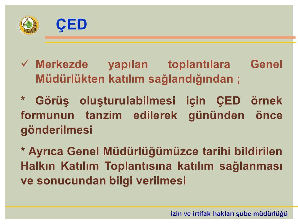 ÇED Merkezde yapılan toplantılara Genel Müdürlükten katılım sağlandığından ;